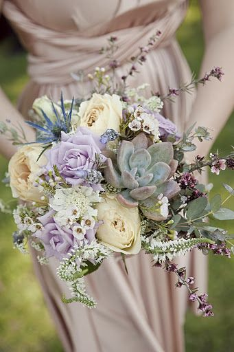 antique vintage whimsical collection of champagne, lavender, sage, warm pinks, ivory & hints of purple bouquets.