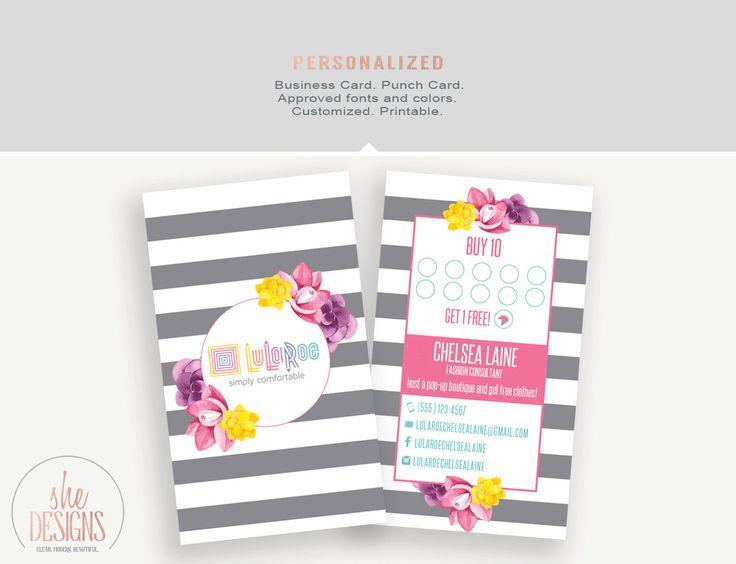 Lularoe Business Card And Punch Digital Printable Watercolor Fl Bold Stripe