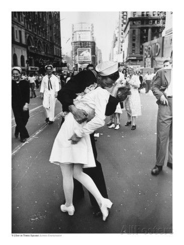 V-J Day in Times Square Posters by Alfred Eisenstaedt | black and white fine art photography at BlackAndWhitePhotography.com