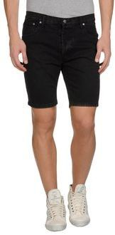 $24, Black Denim Shorts: Cheap Monday Denim Bermudas. Sold by yoox.com. Click for more info: https://lookastic.com/men/shop_items/28105/redirect