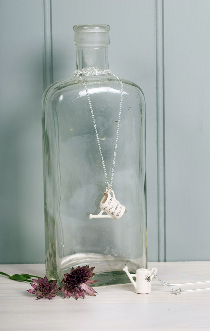 "Boop Design Jewellery - ""Mary Mary"" porcelain watering can necklace with silver charm"