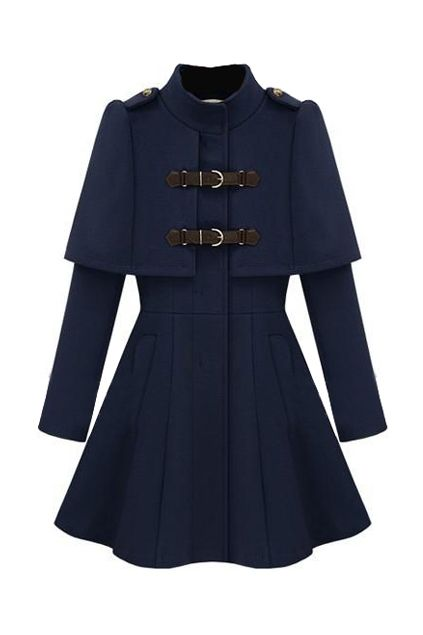 ROMWE | Caped Navy Blue Coat, The Latest Street Fashion