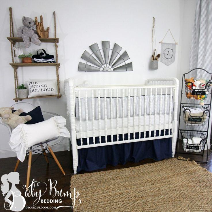 Fabulous Farmhouse Baby bedding Navy & White Ticking Stripe Gender Neutral Baby Crib Bedding