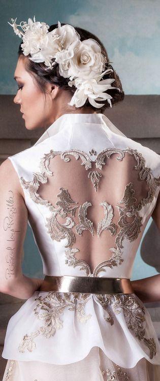 Hanna Touma ~ Couture Bridal Dress w Back Cut-Out + Embroidery Details 2015