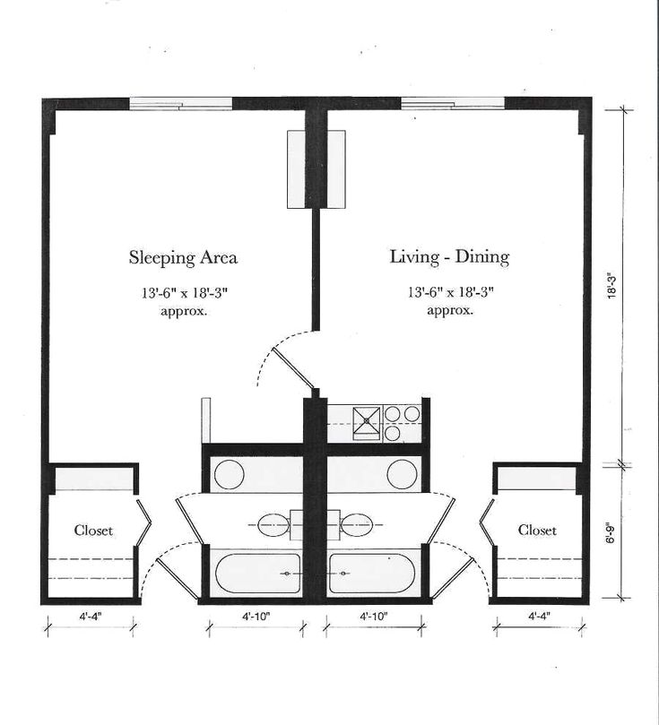 8 best apartment floor plan images on pinterest for Efficiency apartment floor plans