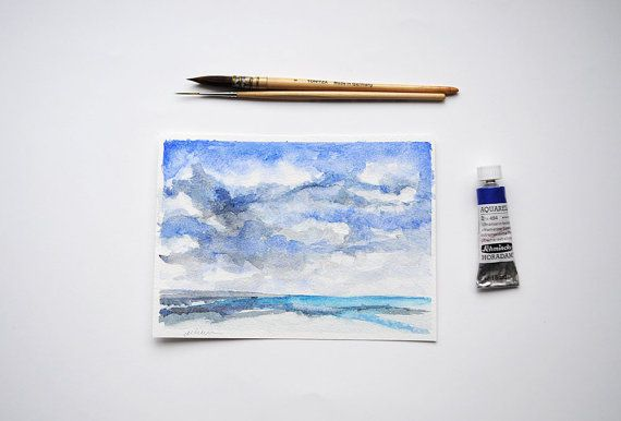 Quiet Beach Watercolor Painting /  Original by SundayWatercolor
