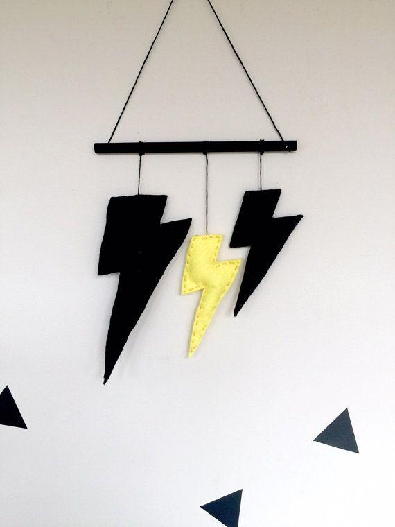 Boys Lightning Bolt Wall Hanging Nursery Decor Black Yellow Kids Room Boys Superhero Batman colours Bunting