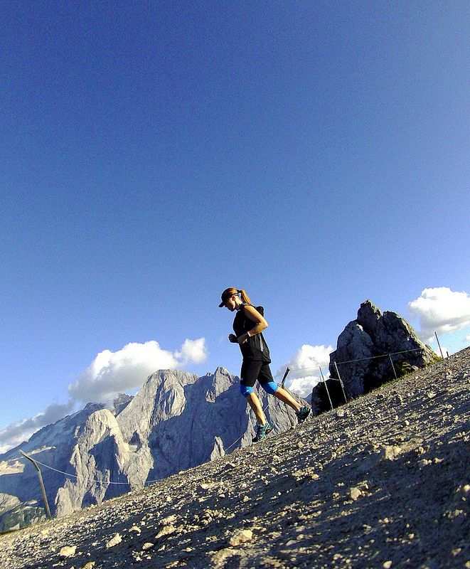 Dolomite downhill running with Marmolada in the background #Dolomites #running #mountains# downhill #active #nature #photo #panorama # Italy #trail #Marmolada