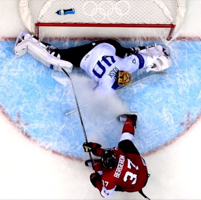 Great overhead shot of Patrice Bergeron putting a shot on Tuukka Rask. Team Finland falls to Team Canada in a 2-1 overtime finish. Sochi 2014
