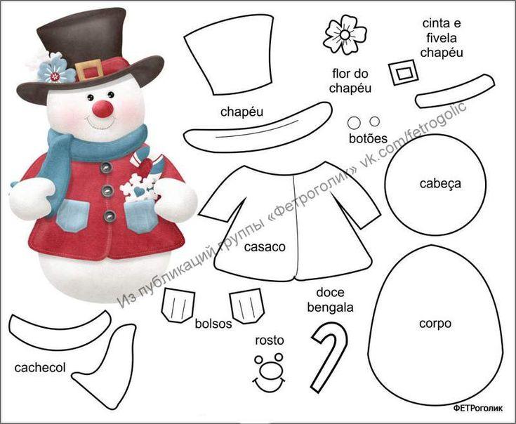 Bonecos de Natal com moldes