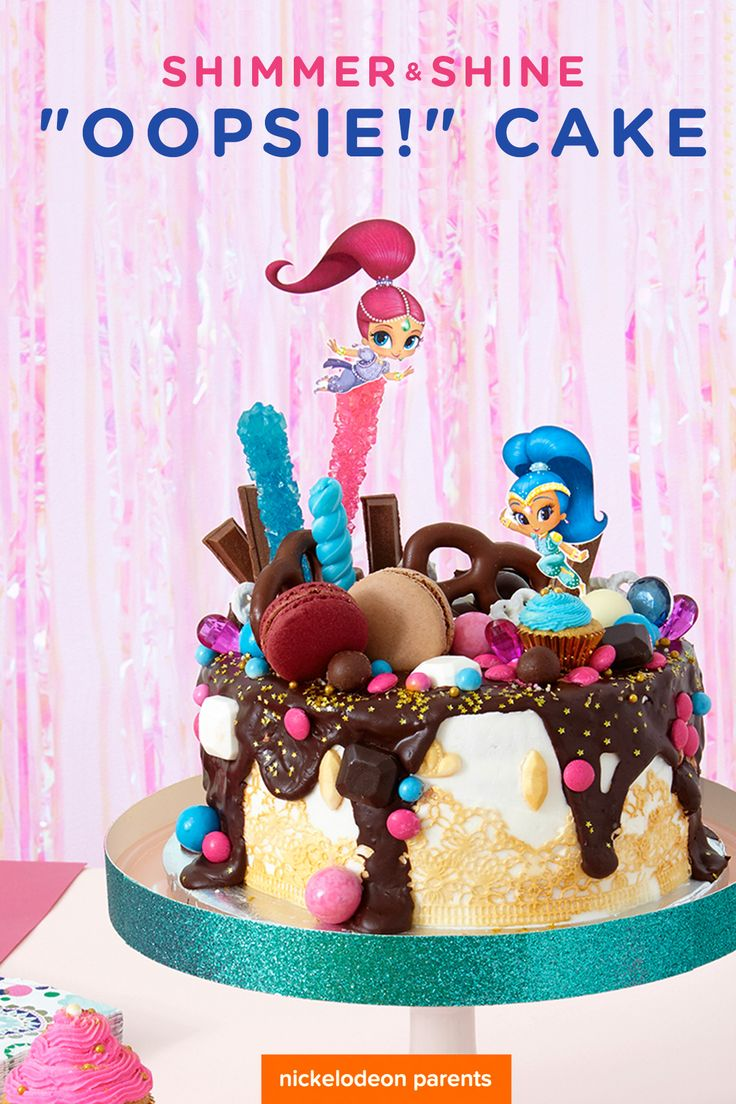 Bake this charmingly imperfect genie cake for your preschooler's Shimmer and Shine birthday party! Simply bake your favorite cake mix, ice, and decorate with rock candy, macarons, edible gems and lace, and chocolate in pinks, blues, purples, and golds.