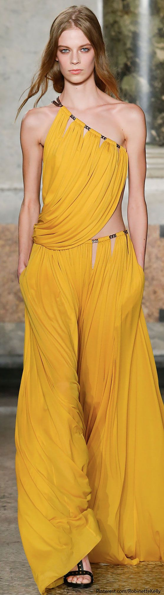 "Emilio Pucci | F/W 2014 RTW-First off, wonderful color.  I love this idea on separates, like it's just draped strips of fabric that give you the impression of only staying together because of their sheer numbers.  Plus, the ""Peek-a-boo""s of skin are sexy!"