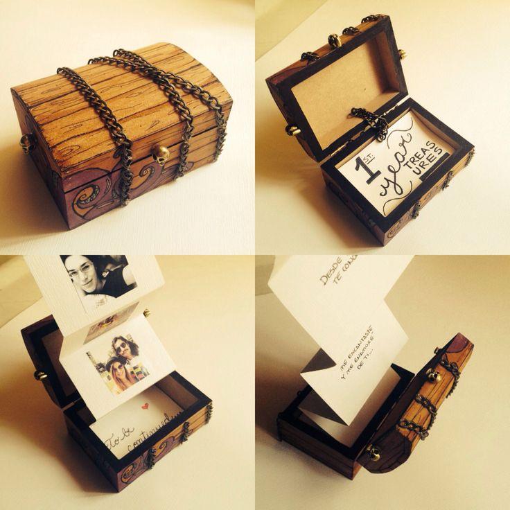 First Year Aniversary Gift. First Year Treasures DIY Treasure chest pirate photo album