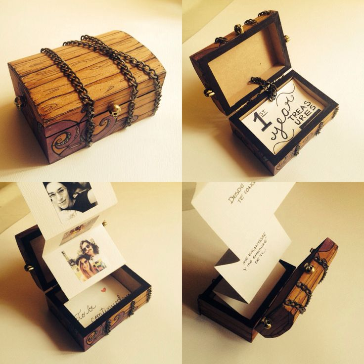 First Year Aniversary Gift. First Year Treasures  DIY Treasure chest pirate photo album
