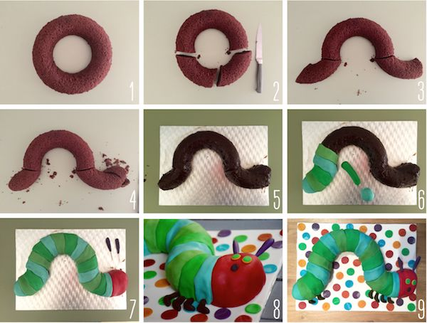 Gâteau La chenille qui fait des trous - The Very Hungry Caterpillar Cake