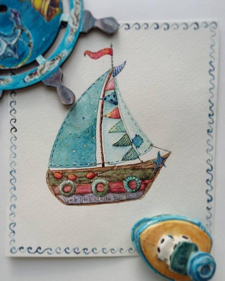 Boat. Watercolor painting. Валерия Васильева (@vvvasiljeva) в Instagram: «Заканчиваю #морской_арт_марафон  вот таким корабликом. Было здОрово и очень вдохновляюще. Хотя для…»