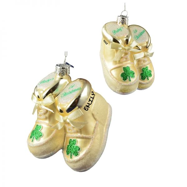 Irish Baby's 1st Christmas WHITE GLASS Shoes Ornament | Personalized Ornaments For You