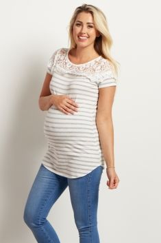 Grey-Striped-Lace-Neckline-Top