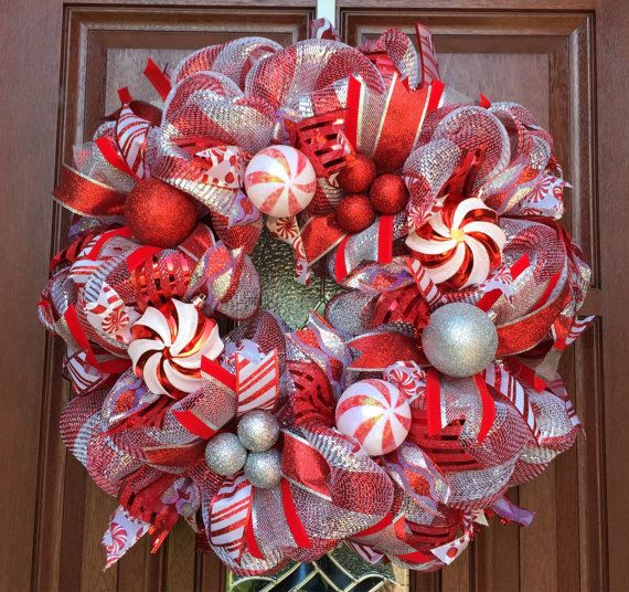 Deco Mesh Peppermint Candy Cane christmas wreath - Holiday Wreath - merry Christmas - red silver mesh wreath by whats on your door