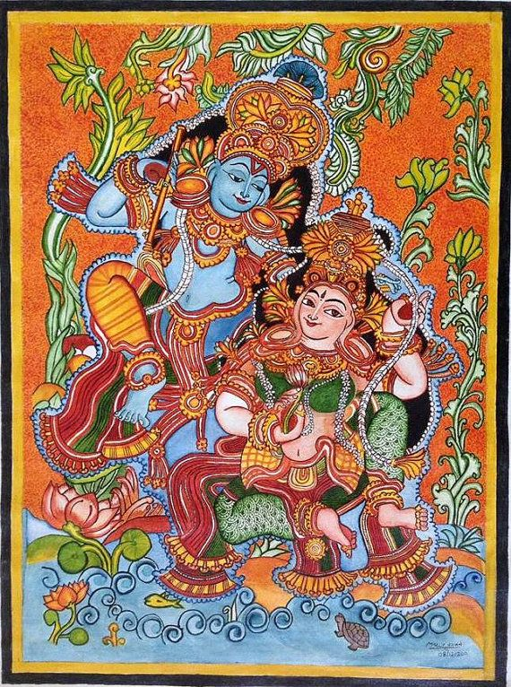 Original hand-painted Mural of the divine relationship between Krishna and Radha. Available on etsy.com!