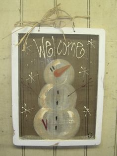 snowman old window screens painted | This snowman is painted on a screen. Sweet! :-)
