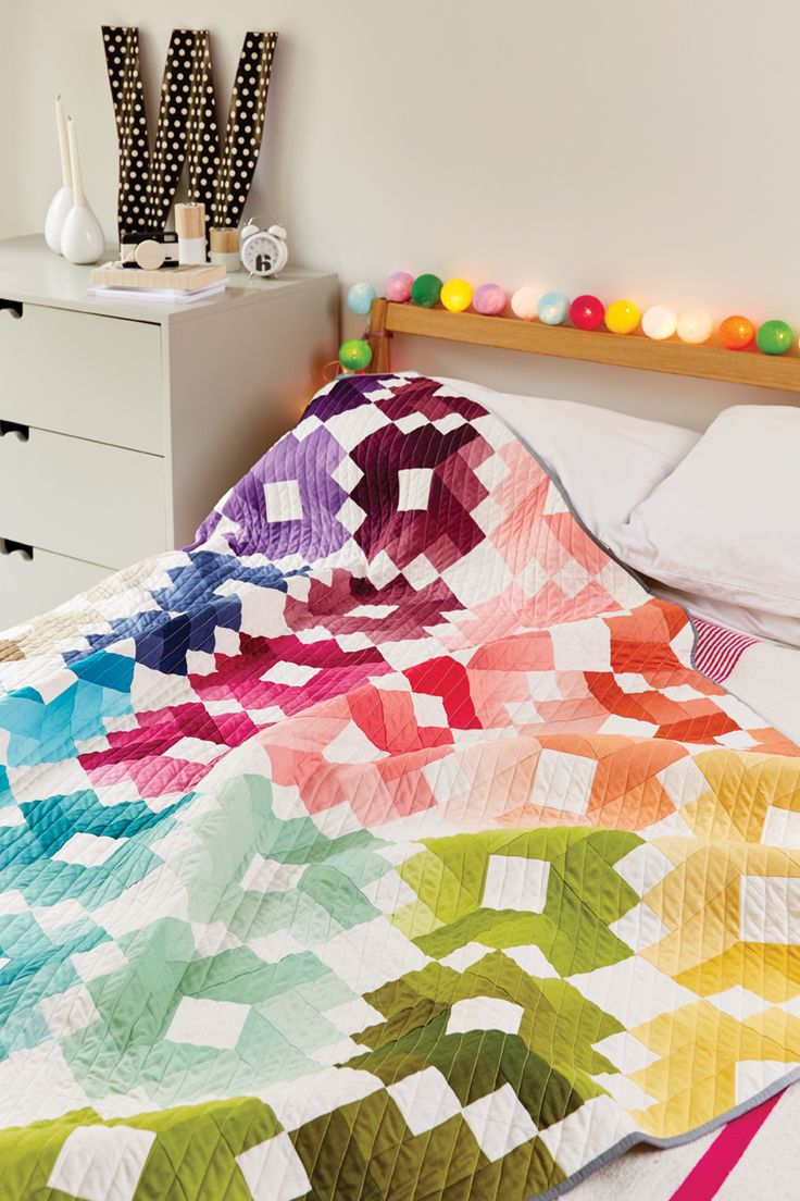 Our brightest quilt yet? Find out how to make Emily Dennis' Rainbow Rows ombre quilt with a clever cross block inside issue 36 http://www.lovepatchworkandquilting.com/magazine/issue-36-sale