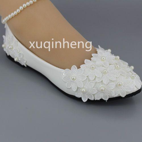 Nuevo hecho a mano zapatos de boda blanco de encaje traje Pisos Bajo Tacón Alto Bomba