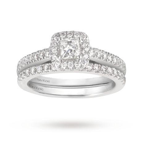 Vera Wang Love princess cut 0.95 total carat weight cluster and diamond set shoulder bridal set in 18 carat white gold