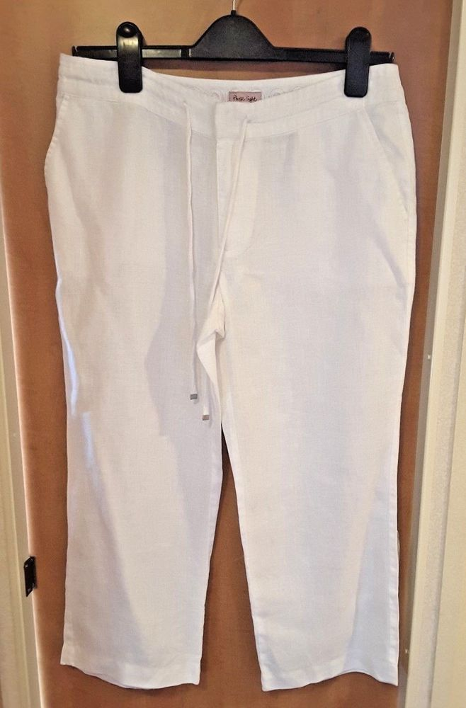 new cheap buying now best online Phase Eight Ladies White Linen Cropped Trousers Size 8 with ...