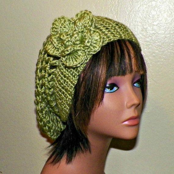 Green Slouchy Hat Womens Crochet Summer Hippie Tam Beret -7227
