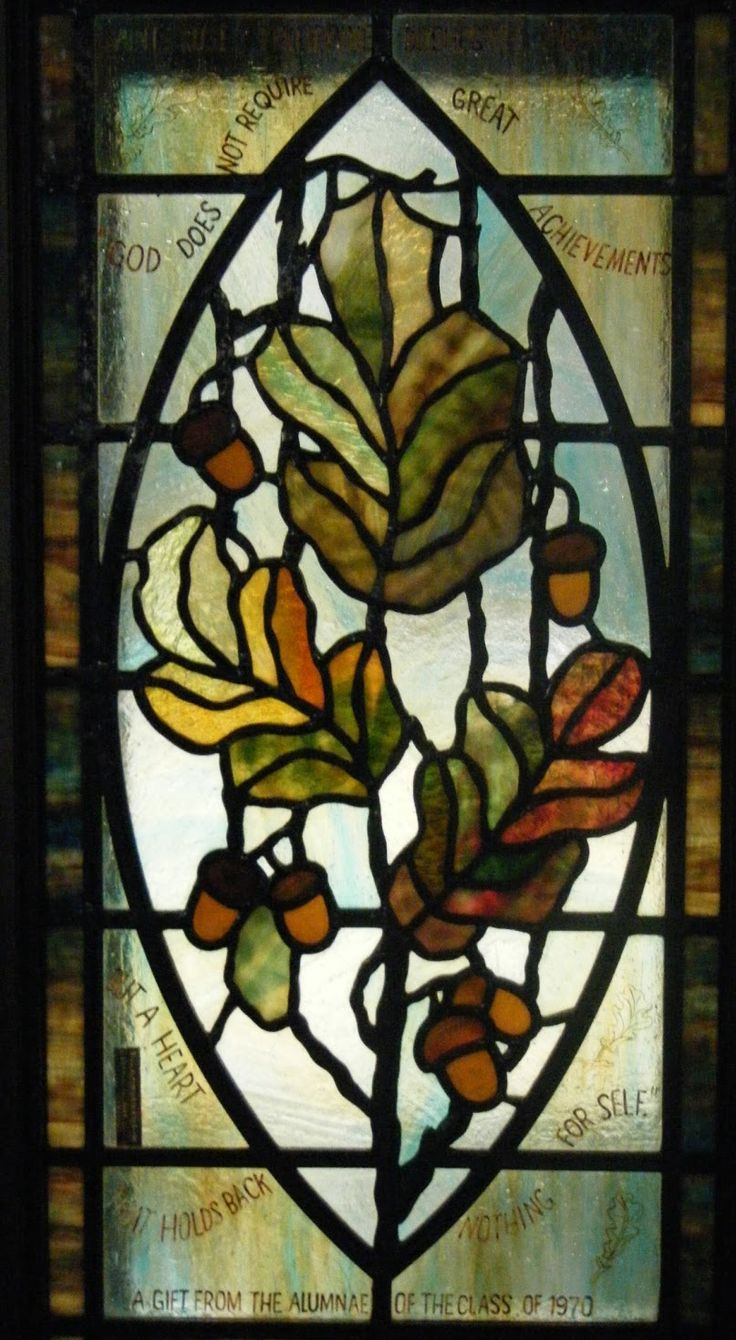 Beach theme decoration stained glass window panels arts crafts - Oak Acorn Window No Artist Credit Given