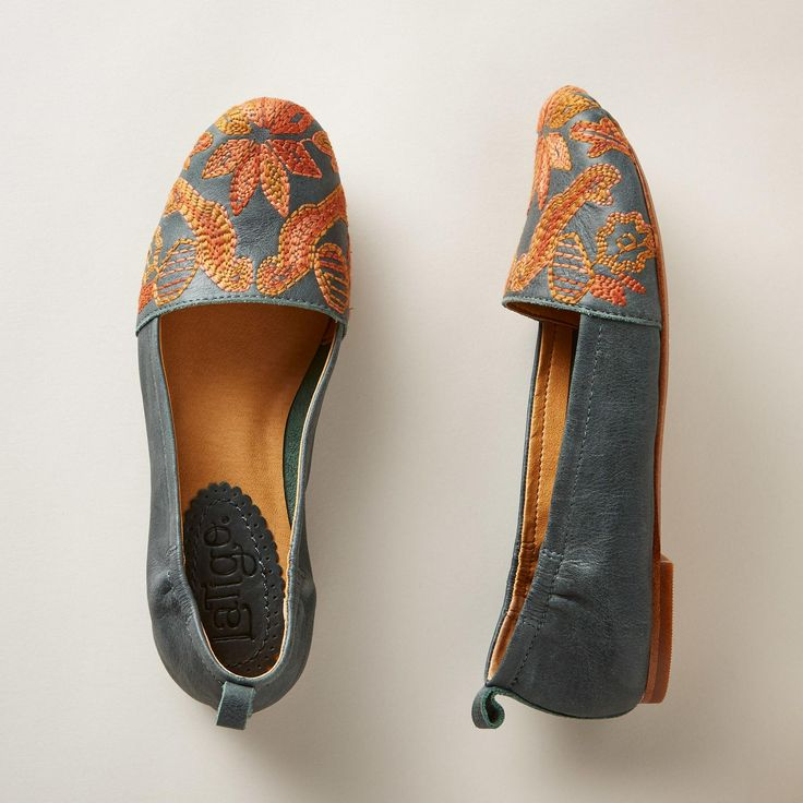 SUMAC SHOES--Capture the beauty of freshly fallen leaves beneath your feet in these artfully embroidered leather flats. Imported. Exclusive. Whole and half sizes 6 to 10, 11.