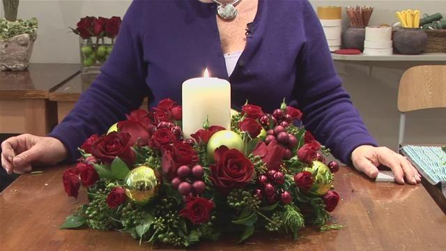 Christmas Candle Centerpieces (Flower Arranging)