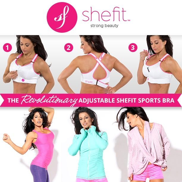 Do you have large or augmented breasts, are nursing or an expecting momma? Shefit high impact sports bra this bra will change your life. With adjustable straps in the front, a zip up easy on front closure and adjustable band this patent pending sports bra will allow you to work out in comfort! http://shop.shefit.com/collections/all-products/products/shefit-sports-bra