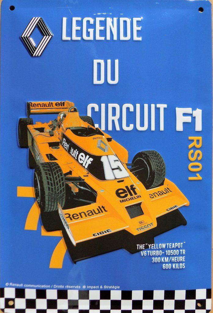 plaque métal vintage RENAULT F1 RS01 légende du circuit en