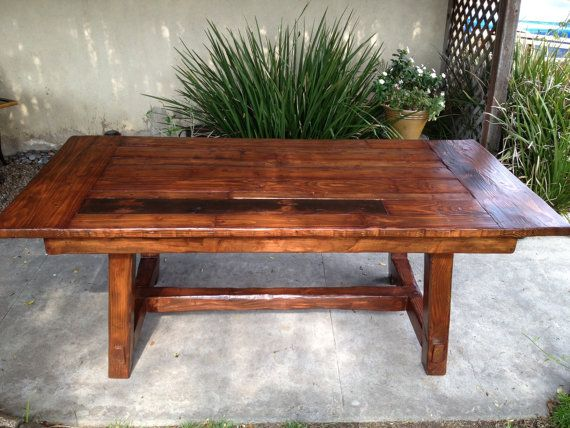 large rustic kitchen table by on etsy