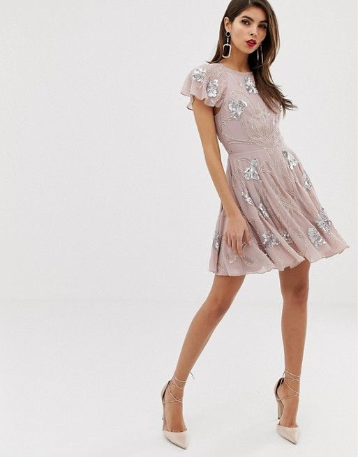 c08747360f850 ASOS DESIGN | ASOS DESIGN mini skater dress with frill cap sleeve with all  over embellishment