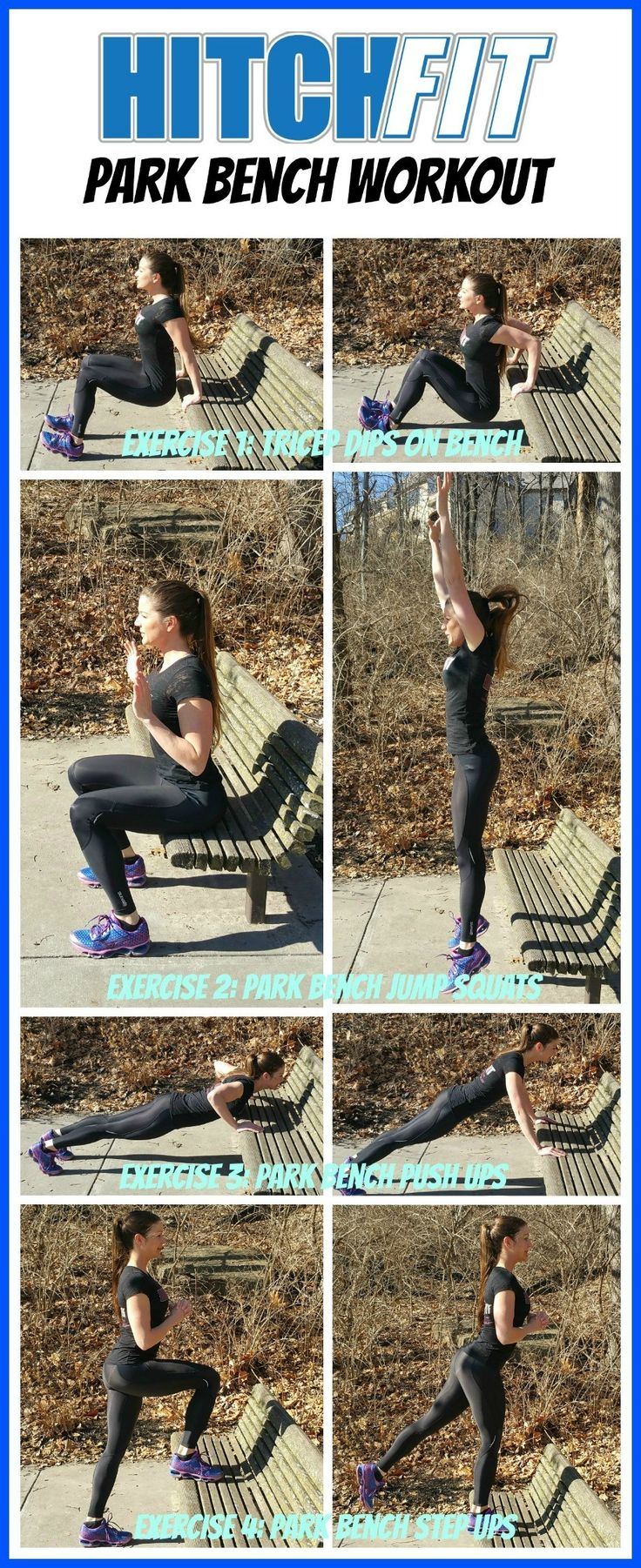Next time you are out for your walk or jog, add in this little Hitch Fit Park Bench Workout to burn some extra calories and get your muscles pumping! This is a Pinnable Workout! Share with your Pinterest Friends! Exercise 1: