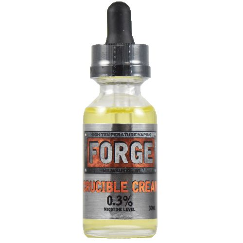 Forge Vapor eLiquids Crucible Cream - Accept no substitutes, Crucible Cream will take all the heat you can throw at it, and return it with one of the most delicious flavors you'll ever vape. It's a light flavor at any temperature that perfectly balances that puffy creaminess with the tartness of strawberries for a magical vaping experience that can't be missed.80% VG