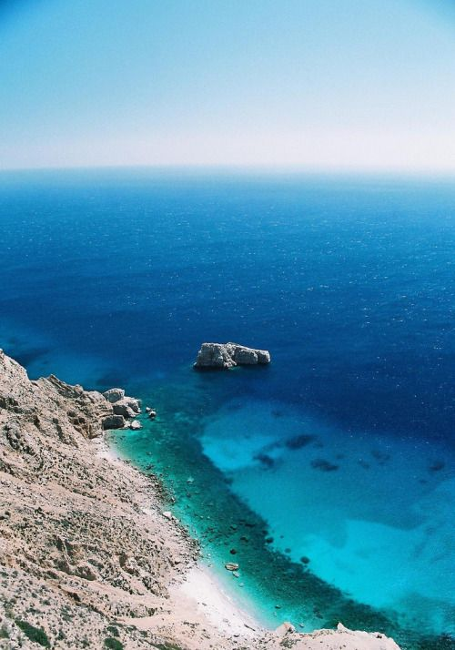 sparkling blue sea of amorgos
