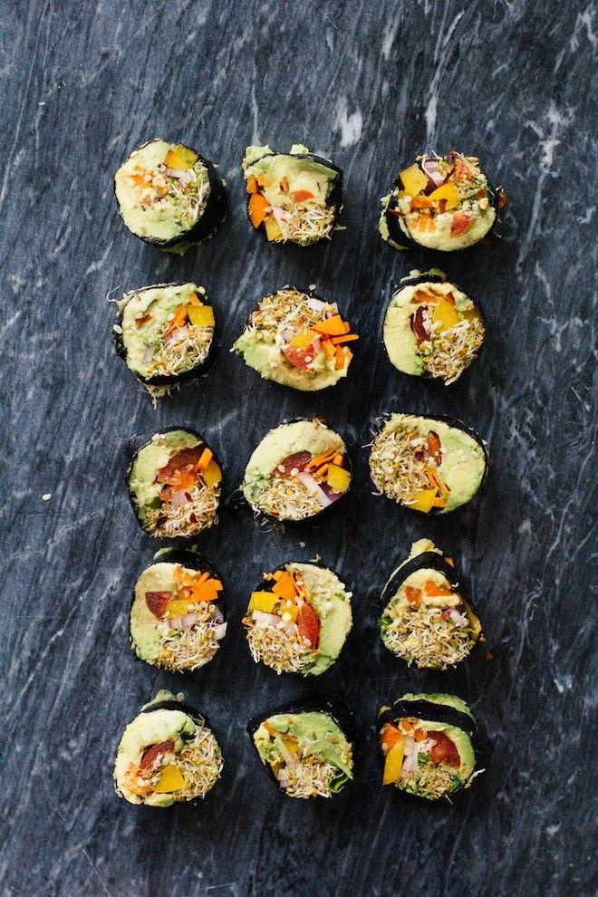 "Veggie ""Sushi"" Rolls - raw nori sushi sheets, avocado, red bel pepper, carrot, zucchini, alfalfa/other sprouts, sauce (nutritional yeast, Dijon/other mustard, Tamari/coconut aminos, fresh lime/lemon juice, fresh cilantro, salt & pepper)"