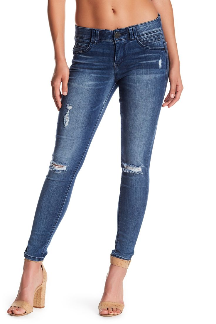 Luxe Touch Ab Technology Deconstructed Skinny Jeans (Petite)