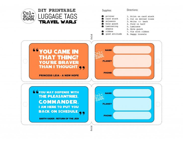 Top  Best Printable Luggage Tags Ideas On   Kids