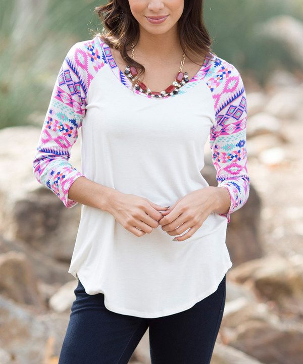 Look at this Ivory & Pink Tribal-Sleeve Raglan Tee on #zulily today!