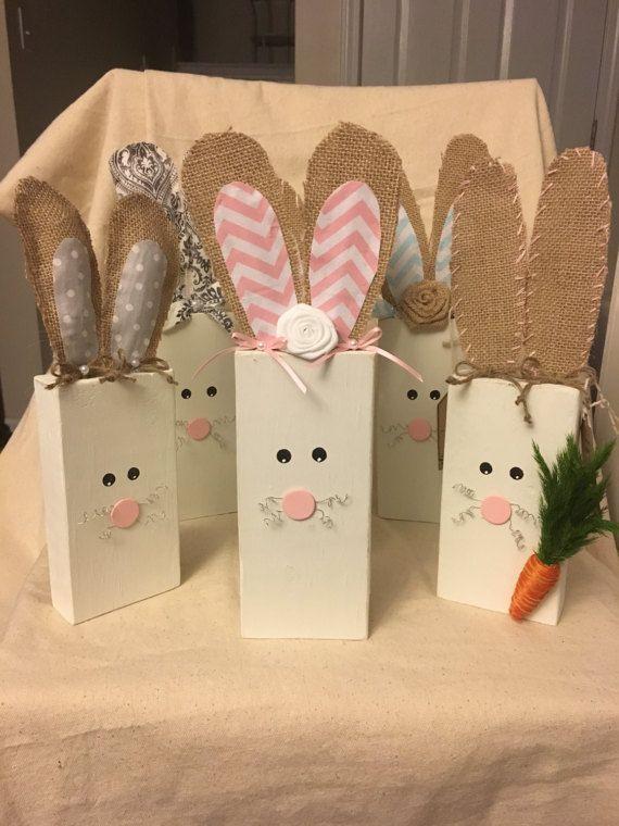 Wood Easter Bunny Burlap Ear Bunny Wood Block Bunny Wood