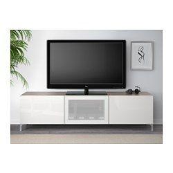 BESTÅ Meuble télé avec tiroirs et porte, effet noyer teinté gris, Selsviken verre dépoli/blanc ultrabrillant - 180x40x48 cm - glissière tiroir, ouv par pression - IKEA