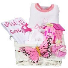 Esprili yenidoğan bebek hediye sepeti
