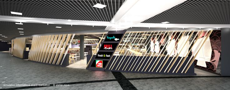 //space design Space study for a 380 places food-court in the Geneva Balexert shopping mall. client:Migros – Geneva Balexert specificity: – custom furniture design – circulation and service conception for 380 clients © illustrations 3D: Atelier Nova
