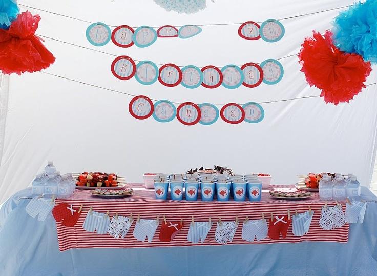 Shark- beach party idea! Cute and pretty simple.