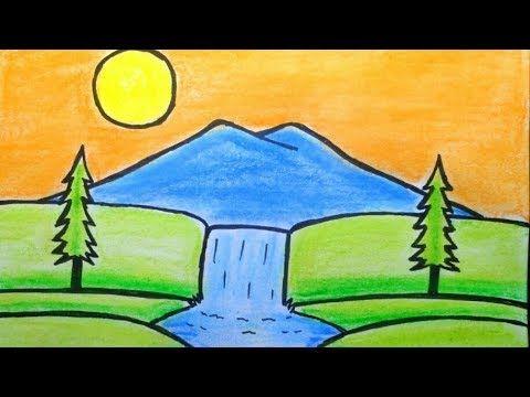 Cara Menggambar Pemandangan Air Terjun Dan Gunung Sederhana Mudah Youtube With Images Easy Drawings Cartoon Cow Drawings